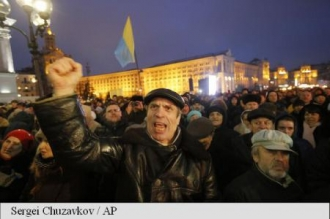 Manifestație pentru destituirea autorităților de la Kiev